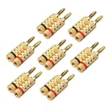 Cable Matters 7 Pairs Crimp & Twist Closed Screw Banana Plugs for Speaker Wire - Made of Bare Copper for Distortion-Free Audio