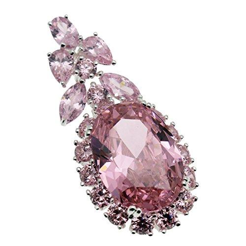 Pink Stone Crystal - Hermosa Women Pendants Necklace Silver Gemstone Kunzite Topaz (Pink)