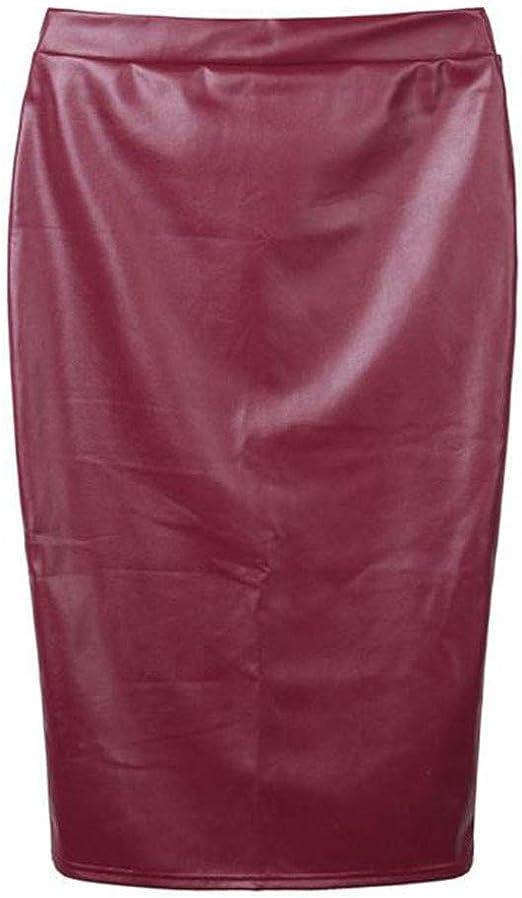 Handaxian Falda Ajustada de Mujer Casual Falda de Cuero Falda de ...