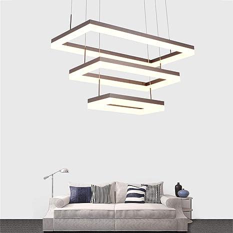 108W LED Lámpara colgante aluminio marrón acrílico blanco ...