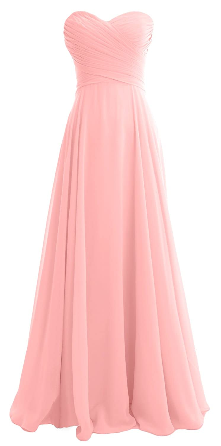 MACloth Women Strapless Pleated Chiffon Long Bridesmaid Dress Wedding Party Gown