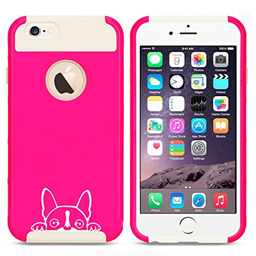 For Apple iPhone 5c Shockproof Impact Hard Case Cover Peeking Boston Terrier Face (Hot Pink-White )