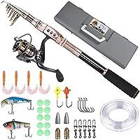 PLUSINNO Telescopic Fishing Rod and Reel Combos FULL Kit,...