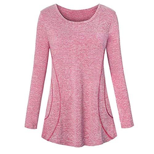 7a0afc256cd6 Tunic T-Shirt Women Casual Long Sleeve Blouse Sport Yoga Cool Dri Workout  Top Pink