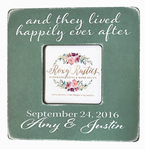 And They Lived Happily Ever After, Personalized Desktop Picture Frame, Wedding or Engagement Gift with Couple's Names and Wedding Date, 8''x8'' Frame Fits Cropped 4x6 or 5x7 Photo