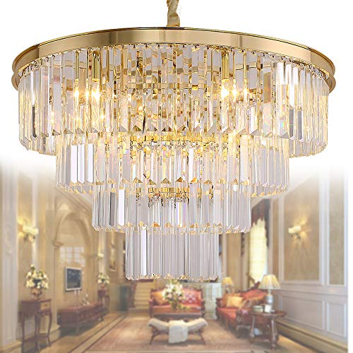 - Meelighting Gold Plated Crystal Modern Contemporary Chandeliers Pendant Ceiling Light 4-Tier Chandelier Lighting for Dining Room Living Room Bedroom Girls Room Dia 23.6