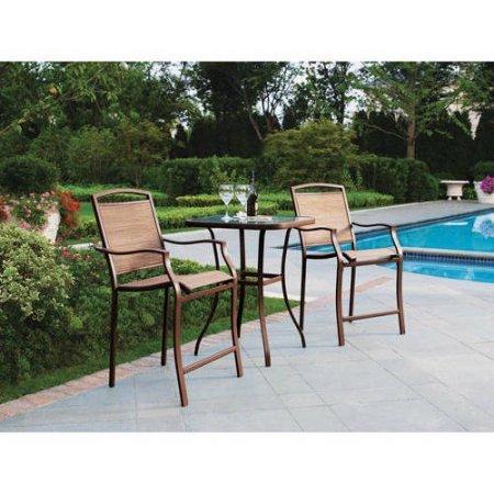 Rectangular Bar Height Umbrella Table (Mainstays 3 Piece Tan Sand Dune High Lounge Outdoor Patio Furniture Bistro)
