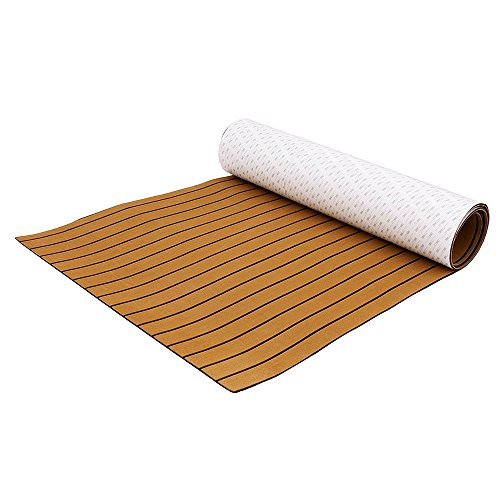 Eapmic EVA Faux Teak Decking Sheet for Fish Boat Yacht Non-Slip Marine Flooring Mat (Brown with Black Stripes, 94.5