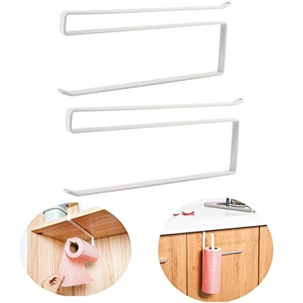 2pcs Paper Towel Holder Dispenser Under Cabinet Paper Roll Holder Rack Without Drilling For Kitchen Bathroom Home Improvement Bathroom Hardware