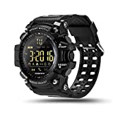 (US) ROADTEC Sport Smart Watches for Men,Bluetooth 4.0 Fitness Tracker Watch 5ATM IP67 Waterproof Support Call SMS Notification Pedometer Remote Camera for IOS Android (Black)