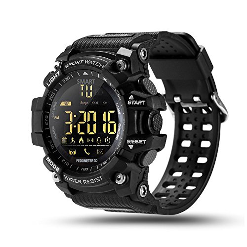 ROADTEC Digital Sport Smart Watches for Men,Bluetooth 4.0 Fitness Tracker Watch 5ATM IP67 Waterproof Support Call SMS Notification Pedometer Remote Camera for IOS Android (Black)