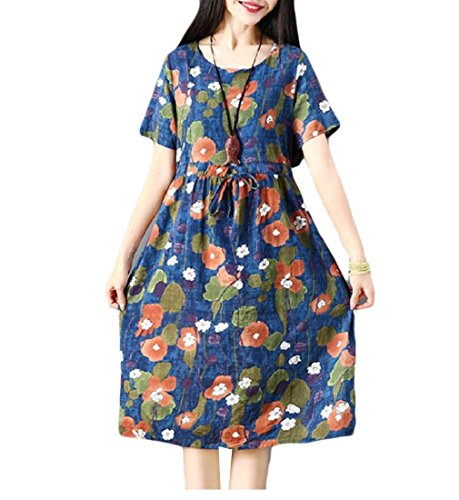 Vintage Picture Waist Retro with Women Dress Sun Loose Mid Bechwear As Drawstring Coolred EwFA1