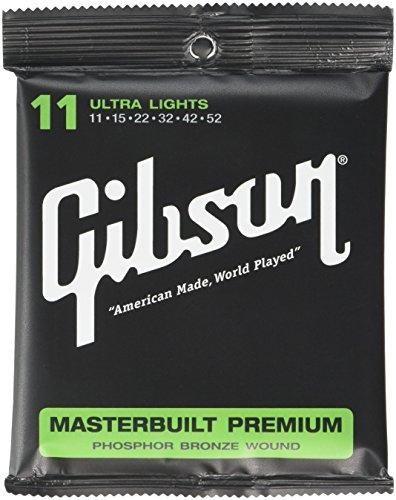 Gibson Masterbuilt Premium Phosphor Bronze Acoustic Guitar Strings, Ultra Light 11-52