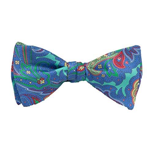 (Peter-Blair Men's Aqua Gansvort 100% Silk Bow Tie Handmade in USA (39GAA4BT))
