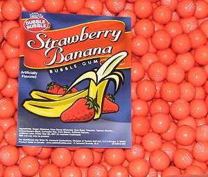 Dubble Bubble Strawberry Banana Gumballs, 1LB (Banana Gum Strawberry)
