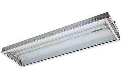 4\' 2 Lamp Fluorescent Light Fixture - Emergency Battery Backup - T8 ...