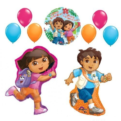 DORA THE EXPLORER & GO DIEGO BALLOONS SET party supplies HAPPY BIRTHDAY + latex by Lgp - Go Diego Go Birthday Party
