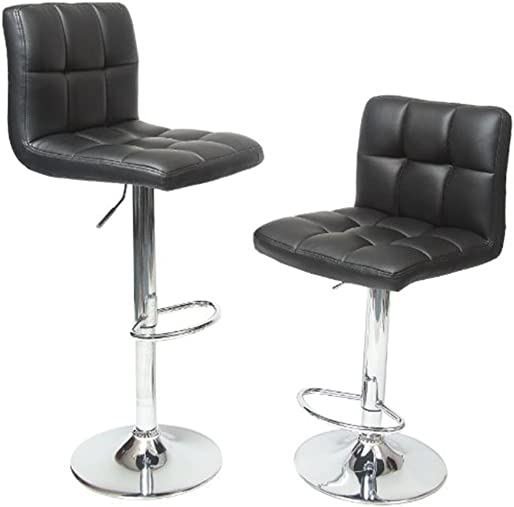 Wakrays Set Of 2, Bar Stools Leather Modern Hydraulic Swivel Dining Chair Barstools Black