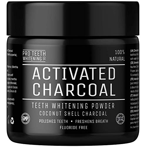 : Activated Charcoal Natural Teeth Whitening Powder by Pro Teeth Whitening Co Grey Charcoal (non abrasive and proven safe for enamel) From Coconut Shells | Manufactured in England