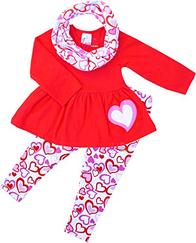 Boutique Clothing Valentine's Day hearts Tunic Legging Scarf Set Red/Pink (Classy Kids Clothes)