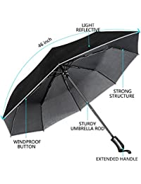 Umbrella, Windproof Umbrella Travel Umbrella Compact Automatic Open and Close Umbrella Lightweight 8 Ribs Golf Umbrellas One Handed Operation with Light Reflective-Black