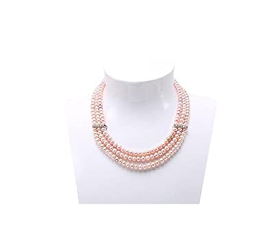 90def80ad JYX 3-Row 6-7mm Flatly-Round Lavender Freshwater Cultured Pearl Necklace
