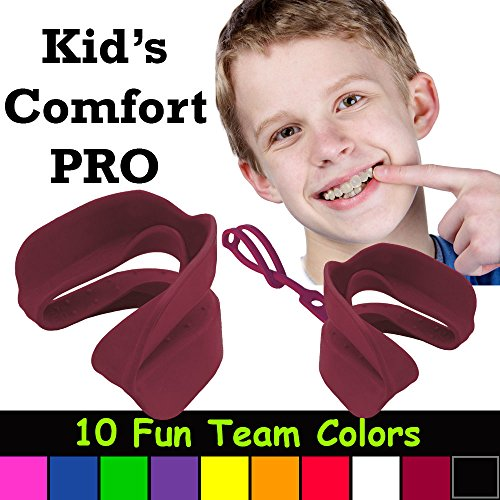 Kid's Comfort PRO Youth Double Sports Mouth Guard Wear With or Without Braces (Maroon)
