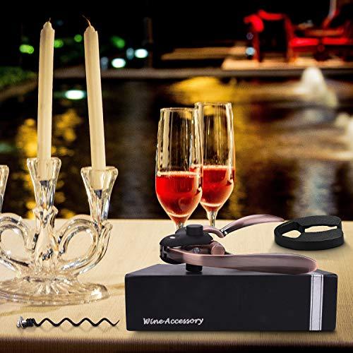 Kwanan New Ver. Wine Opener, Rabbit Wine Bottle Opener Metal Lever Bottle Opener Corkscrew Set with Foil Cutter, Corkscrew –Ideal Gift for Anniversary, Birthday, Christmas, Wedding, Business (Golden) by Kwanan (Image #6)