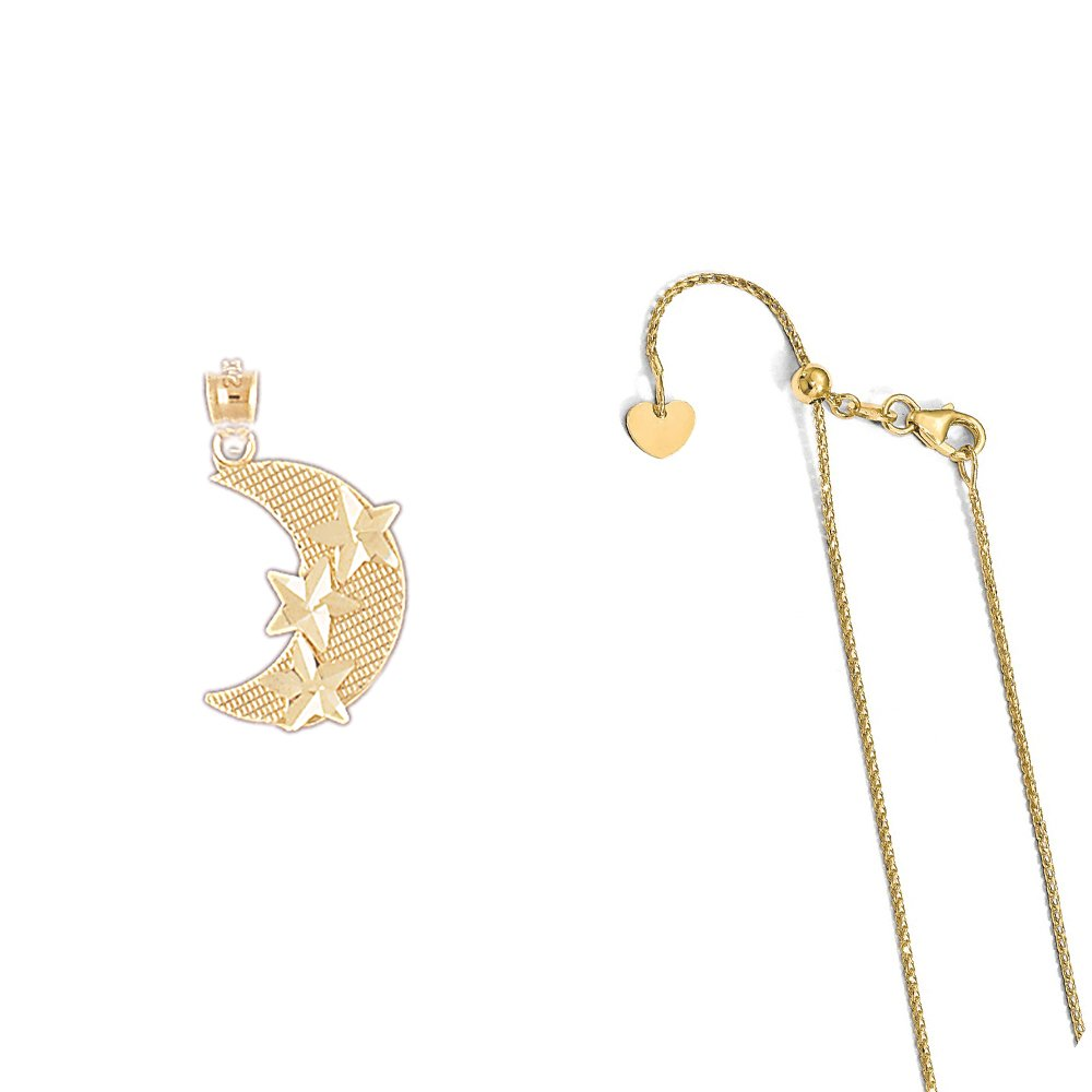 14K Yellow Gold Moon with Star Pendant on an Adjustable 14K Yellow Gold Chain Necklace