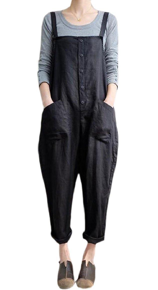 ouxiuli Womens Casual Loose Bib Baggy Overalls Jumpsuits Pants Romper