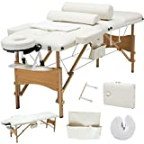 Murtisol Folding Massage Table Luxury-Model Professional Massage Bed with Carrying Bag & Additional Accessories White