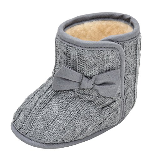 Annnowl Baby Snow Boots Knitted Crib Shoes with Bow 0-18 Months (0-6 Months, Gray) (Knitted Booties)