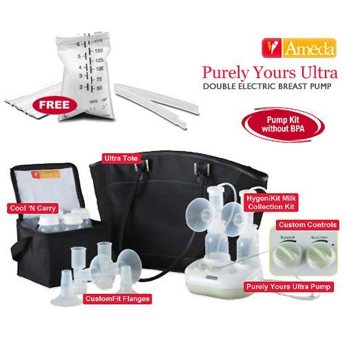 Ameda 17085KIT4 Combo 4 Purely Yours Ultra Breast Pump With Free Ameda Milk Storage Bags - 20 ct box by Ameda