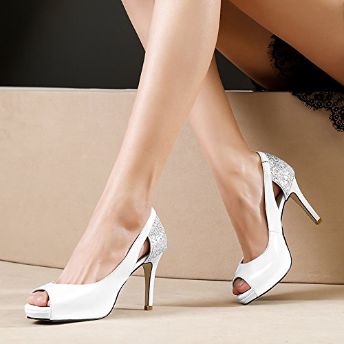 VIVIOO Sandalias De Mujer De Sandalias De Tacón Alto Sandalias De Boca De Tacón Alto De Tacón Alto Sandalias De Mujer Con Lentejuelas De Primavera Zapatos De Charol De Verano Plataforma Impermeable De White