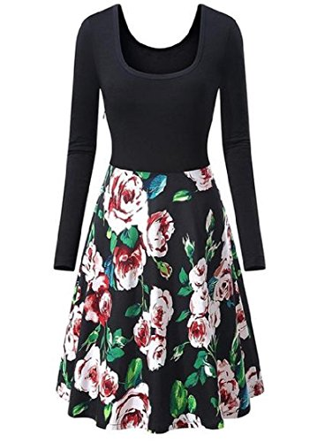 Comfy Womens Big Hem Accept Waist Printed Conjoin Mini Party Dress AS5 M