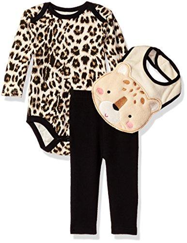 BON BEBE Baby Girls' 3 Piece Pant Set with Long Sleeve Lap Shoulder Bodysuit and 3D Bib, Leopard, 6-9 Months