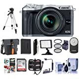 Canon EOS M6 Mirrorless Digital Camera Silver with EF-M 18-150mm f/3.5-6.3 IS STM Lens - Bundle with Holster Case, 32GB SDHC Card, Spare Battery, Tripod, Video Light, Software Package and More