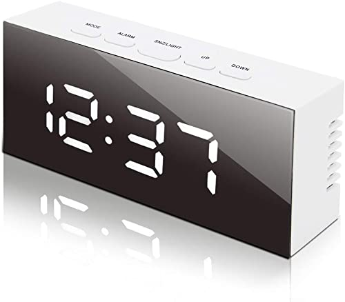 Nakcny Led Digital Alarm Clock, USB Port and Battery Operated- Alarm Clocks Bedside- Temperature Display- Snooze and Large Display- Adjustable Brightness, Mirror Travel Alarm Gift for Bedroom