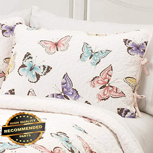 Werrox Flutter Butterfly Quilt Set 2pc Twin or 3pc Queen Soft Pink Ruffle Girls Bedding Size | Quilt Style QLTR-291268229