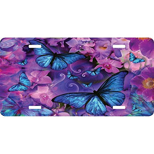 (Flowers Butterflies Front License Plate - Personalized License Plate Cover Aluminum Auto Car Tag 4 Holes (12 X 6 inches))