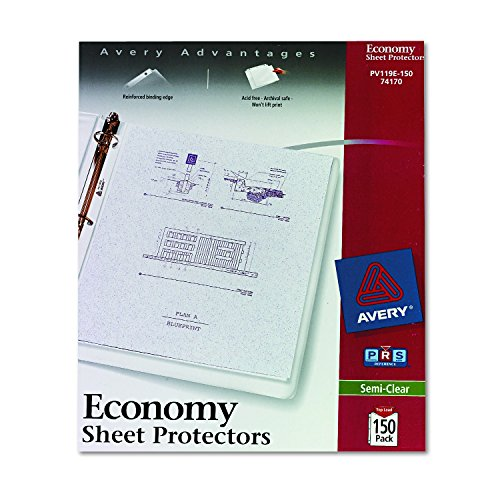 Avery Economy Semi-Clear Sheet Protectors,  Acid Free, Box of 100 (74101) (Avery Page Protectors)