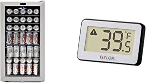 Whynter BR-128WS Beverage Refrigerator With Lock, 120 12oz Cans, Stainless Steel & White & Taylor Precision Products Digital Refrigerator/Freezer Thermometer