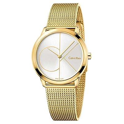 Calvin Klein Unisex Gold Tone Mesh Minimal Watch K3M22526