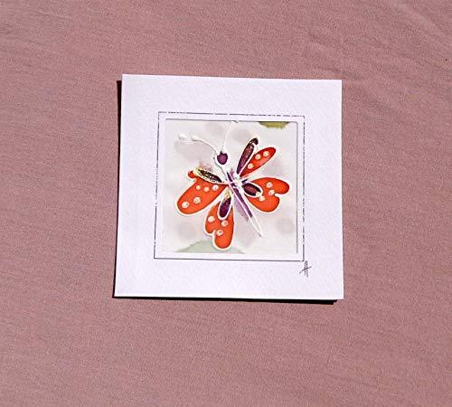 Red Butterfly card,Paintings on Silk-Batik,Personalised Butterfly Card,Butterfly Mother's Day Card,Spring Butterfly Card,Butterfly Gift,Card Garden.
