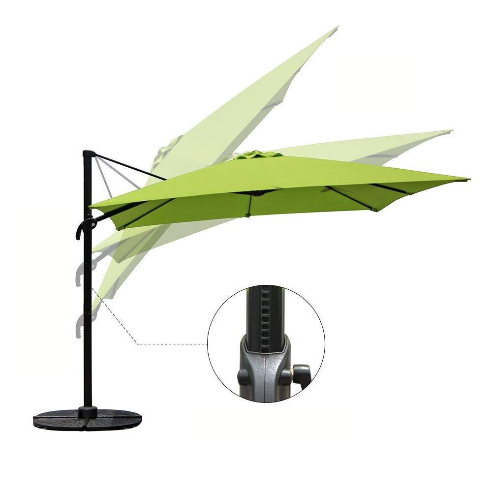 COBANA Offset Rectangular Cantilever Aluminum Patio Umbrella 10 Feet with Cross Base and 360 Degree Rotation, Lime Green