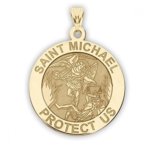 PicturesOnGold.com 14K Yellow Gold Saint Michael Religious Medal - 3/4 Inch Size of a Nickel