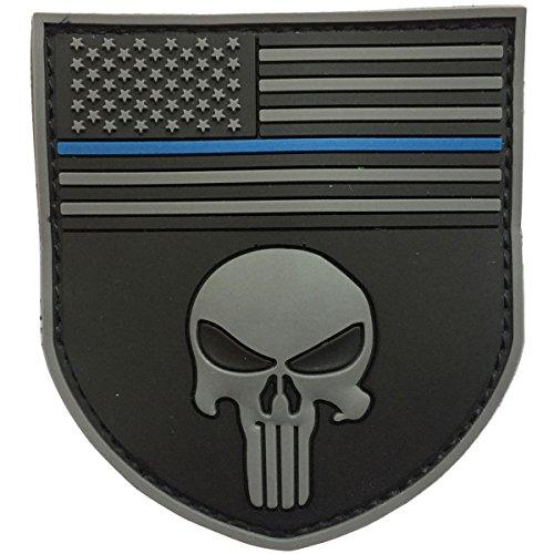 SpaceCar 3D PVC Rubber Shield Shape American Flag w/Police Thin Blue Line Law Enforcement Skull Military Army Tactical Morale Badge Subdued Patch 3.35