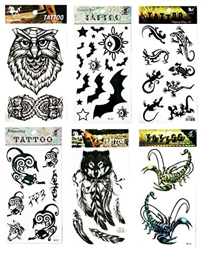 NipitShop Tattoos 6 Pcs Indian Wolf Feather Dog Owl Bat Scorpion Chameleon Lizard Cat Halloween Tattoos Stickers 3D Waterproof Body Art Arm Hand Temporary -