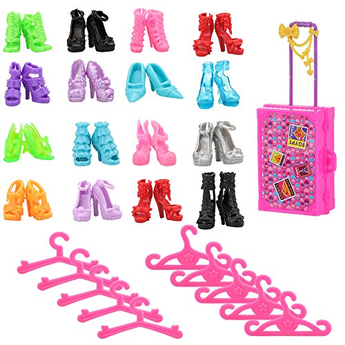 - BARWA Doll Accessories Sets 10 Clothes Hangers 10 Shoes 1 Suit Case for 11.5 inch Dolls