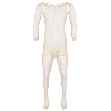 ranrann Body Homme Sexy Transpatent Ouvert sous-vêtement Lingerie Manches  Longues One Piece Extensible Poche edc58de5577